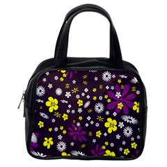 Flowers Floral Background Colorful Vintage Retro Busy Wallpaper Classic Handbags (one Side)