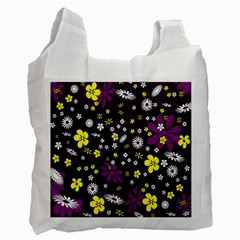 Flowers Floral Background Colorful Vintage Retro Busy Wallpaper Recycle Bag (two Side)
