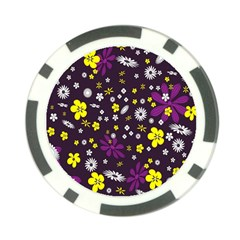 Flowers Floral Background Colorful Vintage Retro Busy Wallpaper Poker Chip Card Guard (10 Pack)