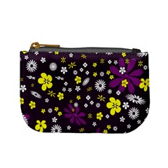 Flowers Floral Background Colorful Vintage Retro Busy Wallpaper Mini Coin Purses