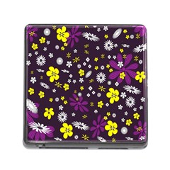 Flowers Floral Background Colorful Vintage Retro Busy Wallpaper Memory Card Reader (square)
