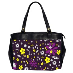 Flowers Floral Background Colorful Vintage Retro Busy Wallpaper Office Handbags (2 Sides)