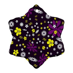 Flowers Floral Background Colorful Vintage Retro Busy Wallpaper Ornament (Snowflake)