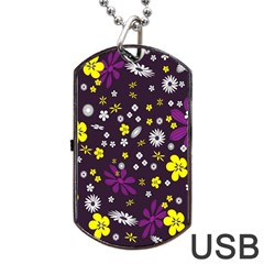 Flowers Floral Background Colorful Vintage Retro Busy Wallpaper Dog Tag Usb Flash (two Sides)