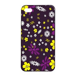 Flowers Floral Background Colorful Vintage Retro Busy Wallpaper Apple iPhone 4/4s Seamless Case (Black)