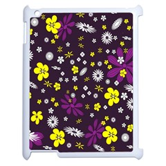 Flowers Floral Background Colorful Vintage Retro Busy Wallpaper Apple iPad 2 Case (White)