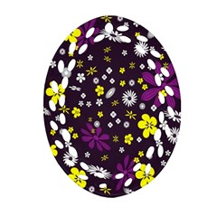Flowers Floral Background Colorful Vintage Retro Busy Wallpaper Ornament (Oval Filigree)