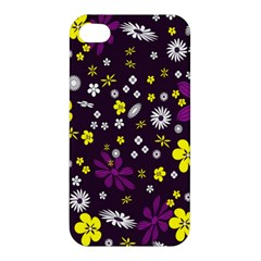 Flowers Floral Background Colorful Vintage Retro Busy Wallpaper Apple iPhone 4/4S Hardshell Case