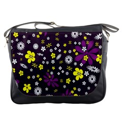 Flowers Floral Background Colorful Vintage Retro Busy Wallpaper Messenger Bags