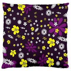 Flowers Floral Background Colorful Vintage Retro Busy Wallpaper Large Cushion Case (Two Sides)