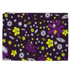 Flowers Floral Background Colorful Vintage Retro Busy Wallpaper Cosmetic Bag (XXL)