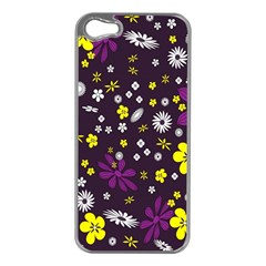 Flowers Floral Background Colorful Vintage Retro Busy Wallpaper Apple iPhone 5 Case (Silver)
