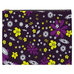 Flowers Floral Background Colorful Vintage Retro Busy Wallpaper Cosmetic Bag (XXXL)