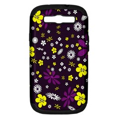 Flowers Floral Background Colorful Vintage Retro Busy Wallpaper Samsung Galaxy S III Hardshell Case (PC+Silicone)