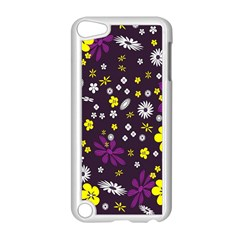 Flowers Floral Background Colorful Vintage Retro Busy Wallpaper Apple iPod Touch 5 Case (White)