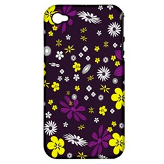 Flowers Floral Background Colorful Vintage Retro Busy Wallpaper Apple iPhone 4/4S Hardshell Case (PC+Silicone)