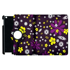 Flowers Floral Background Colorful Vintage Retro Busy Wallpaper Apple iPad 3/4 Flip 360 Case