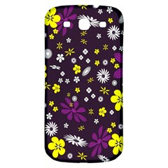 Flowers Floral Background Colorful Vintage Retro Busy Wallpaper Samsung Galaxy S3 S III Classic Hardshell Back Case