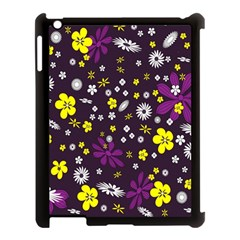 Flowers Floral Background Colorful Vintage Retro Busy Wallpaper Apple Ipad 3/4 Case (black)