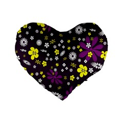 Flowers Floral Background Colorful Vintage Retro Busy Wallpaper Standard 16  Premium Heart Shape Cushions