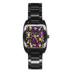 Flowers Floral Background Colorful Vintage Retro Busy Wallpaper Stainless Steel Barrel Watch
