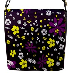Flowers Floral Background Colorful Vintage Retro Busy Wallpaper Flap Messenger Bag (S)