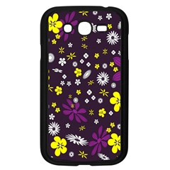 Flowers Floral Background Colorful Vintage Retro Busy Wallpaper Samsung Galaxy Grand DUOS I9082 Case (Black)