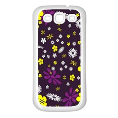 Flowers Floral Background Colorful Vintage Retro Busy Wallpaper Samsung Galaxy S3 Back Case (White)