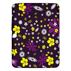 Flowers Floral Background Colorful Vintage Retro Busy Wallpaper Samsung Galaxy Tab 3 (10.1 ) P5200 Hardshell Case