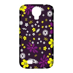 Flowers Floral Background Colorful Vintage Retro Busy Wallpaper Samsung Galaxy S4 Classic Hardshell Case (PC+Silicone)