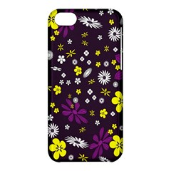 Flowers Floral Background Colorful Vintage Retro Busy Wallpaper Apple Iphone 5c Hardshell Case
