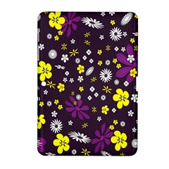 Flowers Floral Background Colorful Vintage Retro Busy Wallpaper Samsung Galaxy Tab 2 (10.1 ) P5100 Hardshell Case