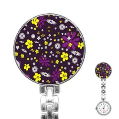 Flowers Floral Background Colorful Vintage Retro Busy Wallpaper Stainless Steel Nurses Watch