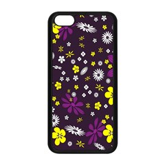Flowers Floral Background Colorful Vintage Retro Busy Wallpaper Apple iPhone 5C Seamless Case (Black)