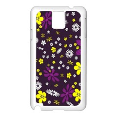 Flowers Floral Background Colorful Vintage Retro Busy Wallpaper Samsung Galaxy Note 3 N9005 Case (White)