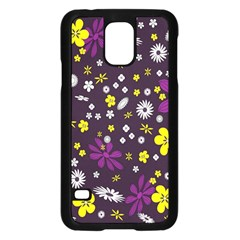 Flowers Floral Background Colorful Vintage Retro Busy Wallpaper Samsung Galaxy S5 Case (Black)