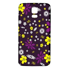 Flowers Floral Background Colorful Vintage Retro Busy Wallpaper Samsung Galaxy S5 Back Case (White)