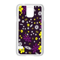 Flowers Floral Background Colorful Vintage Retro Busy Wallpaper Samsung Galaxy S5 Case (White)