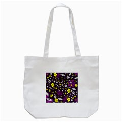 Flowers Floral Background Colorful Vintage Retro Busy Wallpaper Tote Bag (White)