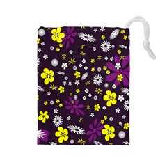 Flowers Floral Background Colorful Vintage Retro Busy Wallpaper Drawstring Pouches (large)