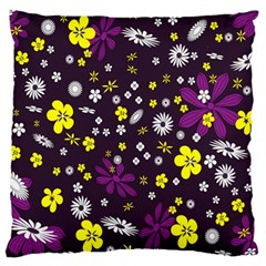 Flowers Floral Background Colorful Vintage Retro Busy Wallpaper Large Flano Cushion Case (two Sides)