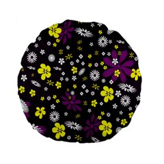 Flowers Floral Background Colorful Vintage Retro Busy Wallpaper Standard 15  Premium Flano Round Cushions