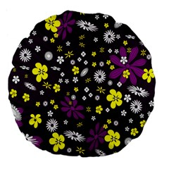 Flowers Floral Background Colorful Vintage Retro Busy Wallpaper Large 18  Premium Flano Round Cushions