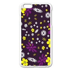 Flowers Floral Background Colorful Vintage Retro Busy Wallpaper Apple Iphone 6 Plus/6s Plus Enamel White Case