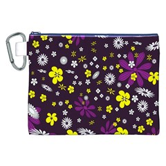 Flowers Floral Background Colorful Vintage Retro Busy Wallpaper Canvas Cosmetic Bag (XXL)
