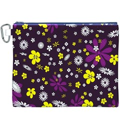 Flowers Floral Background Colorful Vintage Retro Busy Wallpaper Canvas Cosmetic Bag (XXXL)
