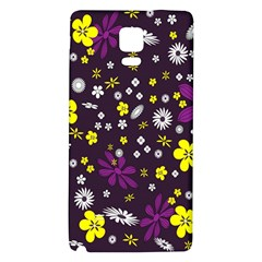 Flowers Floral Background Colorful Vintage Retro Busy Wallpaper Galaxy Note 4 Back Case