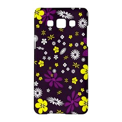 Flowers Floral Background Colorful Vintage Retro Busy Wallpaper Samsung Galaxy A5 Hardshell Case