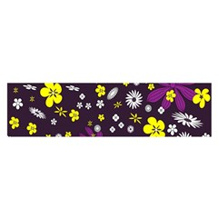 Flowers Floral Background Colorful Vintage Retro Busy Wallpaper Satin Scarf (oblong)