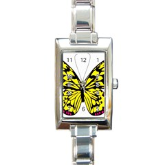 Yellow A Colorful Butterfly Image Rectangle Italian Charm Watch